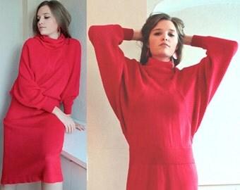 Vintage Plain Jane SWEET BABY JANE OverSized Sweater Dress 80s Funnel neck knit Red Midi PullOver dolman sleeves Drop Waist Woman's Jumper L