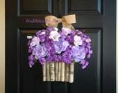 spring wreath purple lavender ranunculus wreath front door decorations birch bark vase wreath