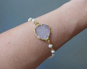 Druzy Bracelet, Pearl Bracelet, Pearl Bridal Bracelet, Druzy Gemstone Bracelet, Gemstone Bead Bracelet, Druzy Jewelry, Bridesmaid Gift
