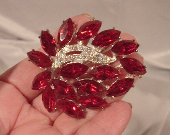 Incredible Signed WEISS Pin!  Vintage Ruby-red and Clear Rhinestones Wow!