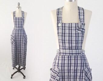 Vintage 90s Plaid Pinafore Dress - Blue & White Grunge Apron Dress w/ Pockets - Midi Halter Dress - Size Large L