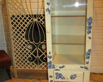 Blue and White Distressed Curio Cabinet - Shabby Chic