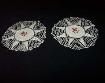 Set of 2 Linen and Crocheted Doilies - Dresser Scarves ~ MEXICO ~ Faux Floral Embroidery