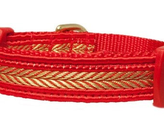 "Fancy 5/8"" Dog Collar Red Dog Collar Size X-Small"