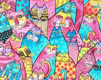 Laurel Burch Aztec Light Feline Cats  Spring Fabric softer pink blue shades  Retired Out of Print FQ