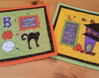 Halloween Mug Rugs, Set of 2 Snack Mats, Candle Mats, Mini Placemats, Trivets, Potholders, Home is Where the Haunt Is, Scaredy Cats Welcome