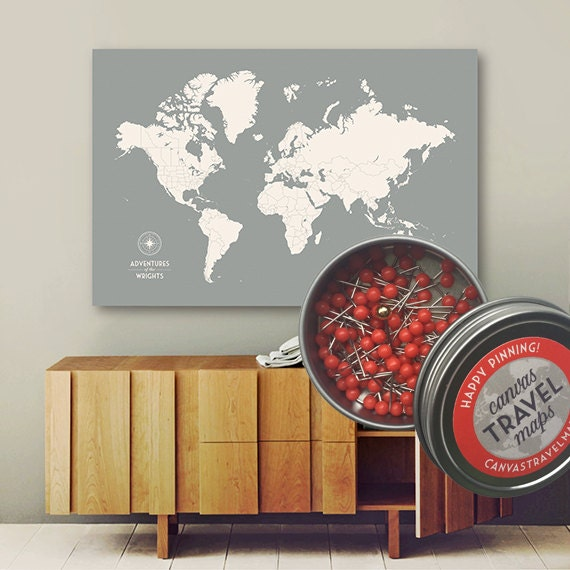 grey custom push pin world map