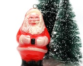 Red Plastic Santa Ornament*1950s Hard Plastic Santa*Christmas Santa Claus