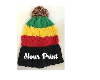 Custom Embroidery Rasta & Black Pom Pom Beanie
