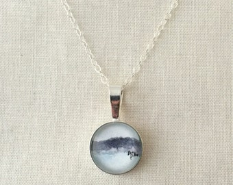 Minimal Landscape  - Wearable Artwork Necklace - Original Watercolor Painting - One of a Kind - Sterling Silver