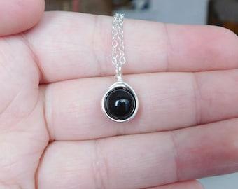 Black Pearl Necklace , Bridesmaid Necklace , Swarovski Pearl Necklace , Black Crystal Pearl Necklace