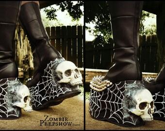 "Platform ""Widow"" Spider Web Studded Skull Boots"