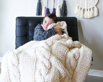 """Super Chunky Triple Cable Acrylic Throw Blanket (Approximately 49"""" x 64"""")"""
