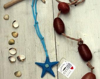 Seastar necklace, fabric necklace, nautical cotton necklace
