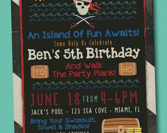 Pirate Birthday Party, Pool Party, Swimming Party Invitation, Digital, 5x7