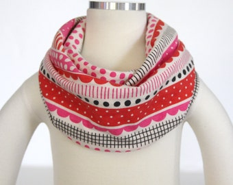 100% Organic Cotton (Pink Red Abstract) Scarf for children