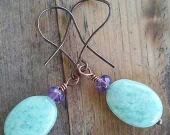 sale! le vignette.. amethyst & peruvian opal earrings
