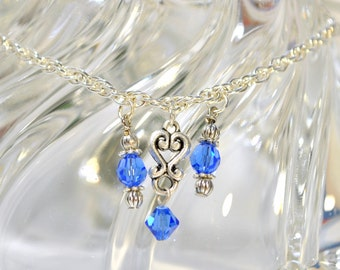 "Blue Crystal on Silver Chain Anklet, 9.25"" inch Blue Silver Ankle Bracelet"