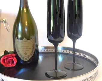 Vintage Black Amethyst Crystal Champagne Toasting Flutes - Set of 2 | Bride and Groom Wedding Toasting Glasses | Black Vintage Wedding Stems
