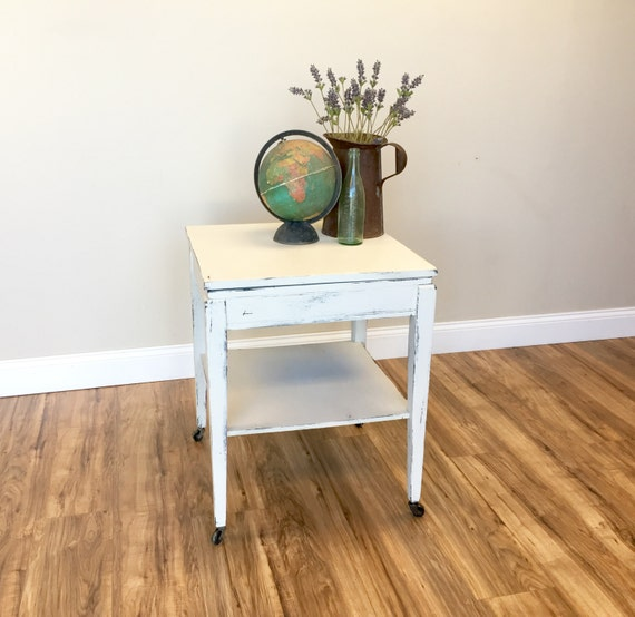 Square End Table - Vintage Night Table - Square Side Table - Rustic Night Stand - White End Table