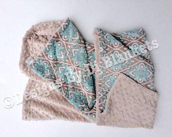 Blue Floral Blanket, Adult Minky Blanket, Blue and Brown Blanket, Couch Throw,Adult Throw Blanket, Adult Size Blanket  50 x 60 in
