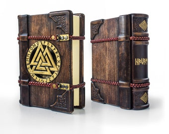 The Viking wooden / leather journal, 7 x 9 inches, art journal, magic journal, grimoire, book of shadows, Norse, Havamal, Nordic