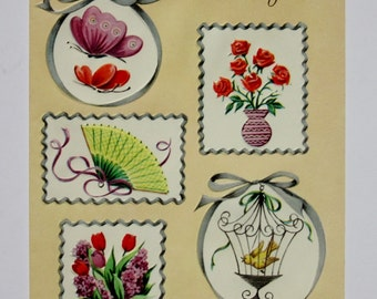 Vintage Unused Thank You Card Featuring Embossed Butterflies, Red Roses, Tulips, a Yellow Fan, and a Bird Inside a Birdcage Card for Friend