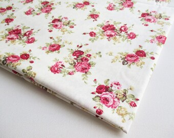 Vintage Rose flower, Rose bouquet on Off White fabric, Spring, bunch of rose, ipad case, Lady Dress, Wedding favor, Cushion cover, CT437