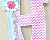 Wooden Letters for Nursery, Wall Hanging Letters pink and teal Baby Name- Girl Room Nursery Decor -Painted and decoupage- The Rugged Pearl