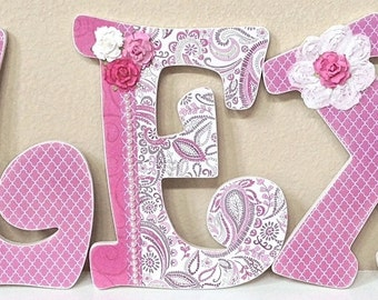 Decorative Wall Letters, Nursery Decor, Personalized Baby Name, Wooden Letters, Pink Paisley, Hanging Letters- baby gift