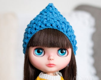Pixie gnome helmet for Blythe, blue