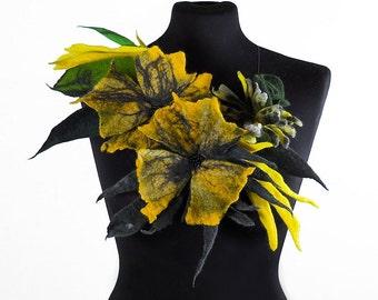 Felted Collar felt Necklace flower art jewerly nunofelt Nuno felt LA BELLE EPOQUE collar silk fairy floral fantasy Fiber Art boho