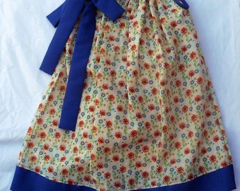 Pillowcase Dress & matching bloomers Toddler Girl 3T coral/ blue flowers