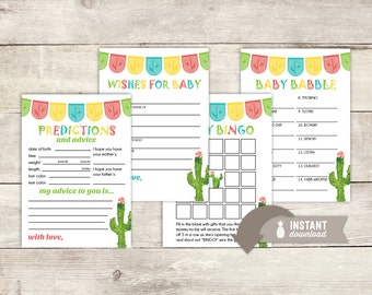 Fiesta Cactus Baby Shower Game Pack - 4 Instant-Download Game Card Printables