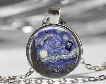 Starry Night Necklace, Tardis Pendant, Dr Who Jewelry [B24]