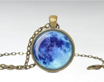 Blue Moon Pendant, Full Moon Jewelry, Blue Full Moon Necklace [B56]