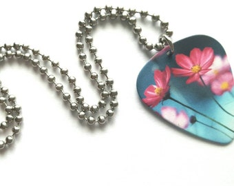 Pink Flowers Guitar Pick Necklace with Stainless Steel Ball Chain - nature - gift for her
