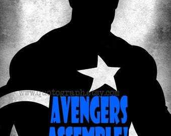 Captain America - photo print - Superhero Poster Wall Art Texture Boys Room Geek Geekery Nerd Office Man Cave Gift for Him Action Hero