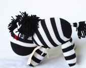 Sock animal, sock zebra, sock monkey, soft plush toy for children. Black and white. Zab Zebra.