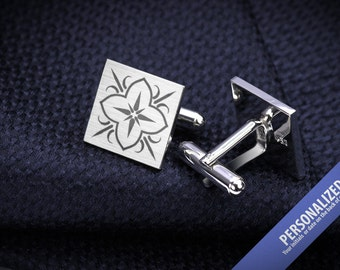 Wedding Cufflinks - Laser Engraved cufflinks - Sterling Silver cufflinks - Mens wedding accessories