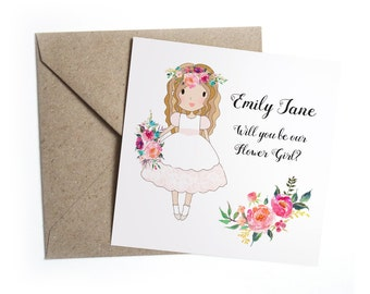 Will You Be My Flower Girl Card - Personalised Pink Floral Wedding, Flower Girl, Bridesmaid, Page Boy, Usher