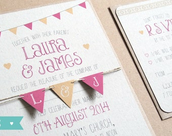 Summer Fair - Cute Bunting Wedding Invitation SAMPLE