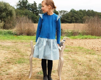 Girls ruffle dress Girls clothes Girls dress Tunic dress Toddler girl dress  Teal dress Autumn Winter dress Everyday dress Back to School