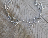Preorder Into the woods necklace, silver twig necklace, statement branch necklace, woodland necklace antler necklace