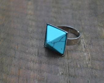 Turquoise boho ring, boho turquoise ring, blue stone ring, turquoise pyramid ring, pyramid jewelry, turquoise jewelry