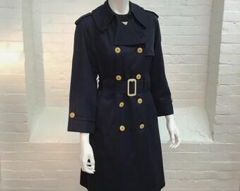 vintage spy trench coat // navy blue Misty Harbor raincoat // spring autumn coat // 1970s