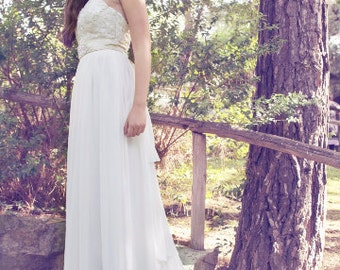 Ivory Wedding Dress, Lace Wedding Gown, Long Bohemian Gown, Champagne Gown, Open Back Gown, Βοhο Wedding Dress, Handmade, Boho Wedding Gown