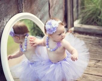Birthday Tutu Outfit - Cake Smash Outfit Girl - Tutu Set - First Birthday - Lavender Tutu - Purple Birthday Outfit - Newborn Tutu Baby Tutu