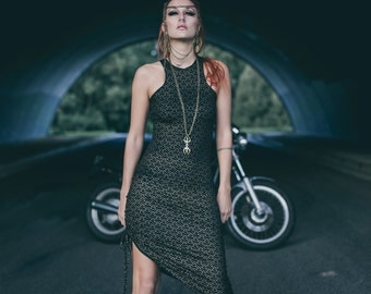 Jade dress- Racer back dress- Diamond gold print dress- Asymetrical dress - Organic dress