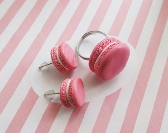 Macaron Ring And Earrings - Food Jewelry, Macaron Jewelry , Miniature Food, Pink Jewelry